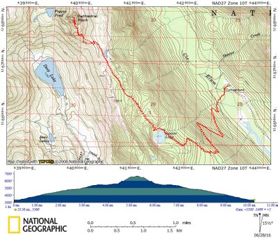 Cathedral Rock/Southwest Face Route Map