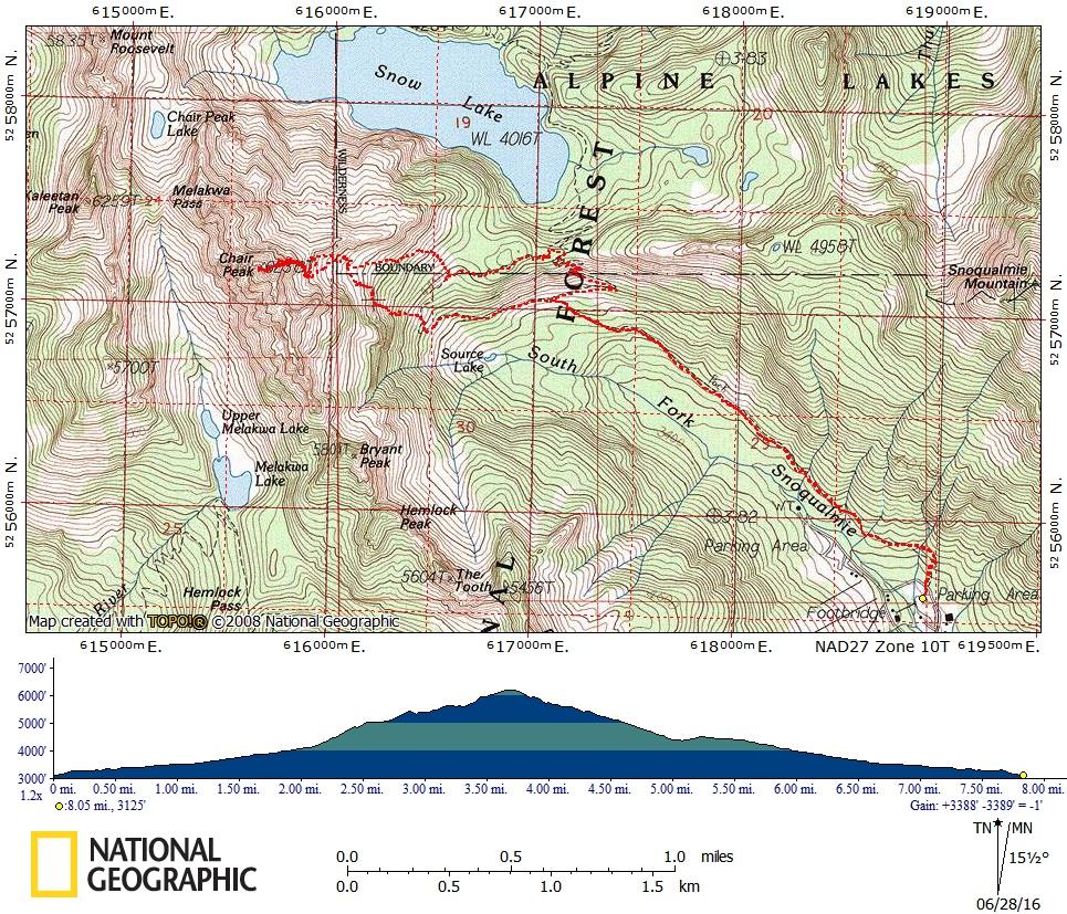 Chair Peak/NE Buttress Approach Map