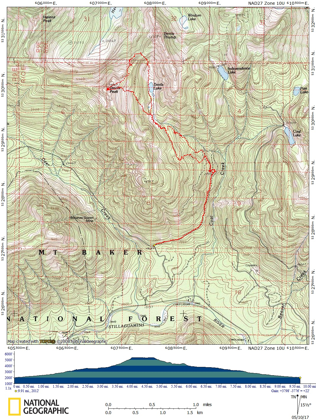 A topo map made by Brett Dyson of the Devil's Peak/South Ridge route using National Geographic Topo! software on May 9, 2017.