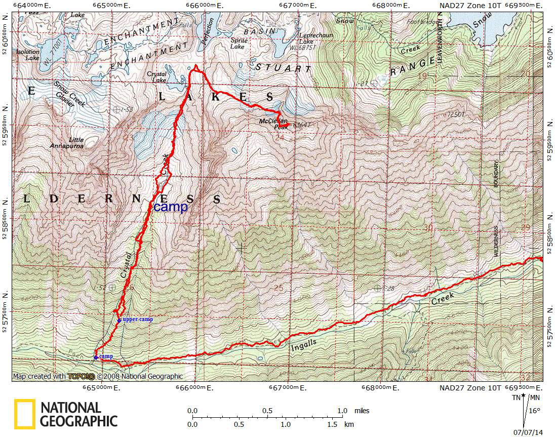 McClellan Peak Ingalls Creek Approach Route Map