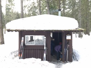 Park rocks providing this lovely warming hut for families who are sledding or skiing there.
