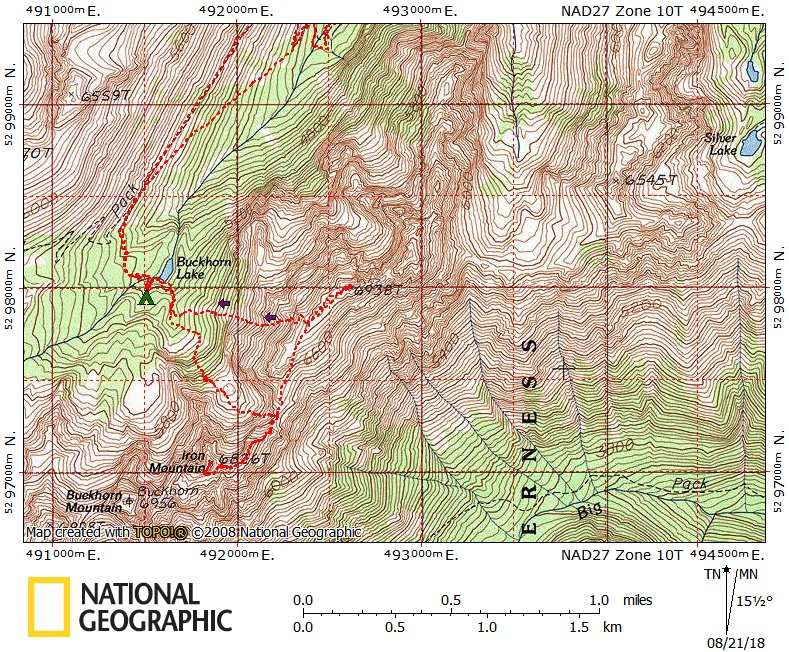 A topo map of the route to Iron Mountain and Mount Worthington done with National Geographic TOPO! by Brett Dyson Aug 2018.