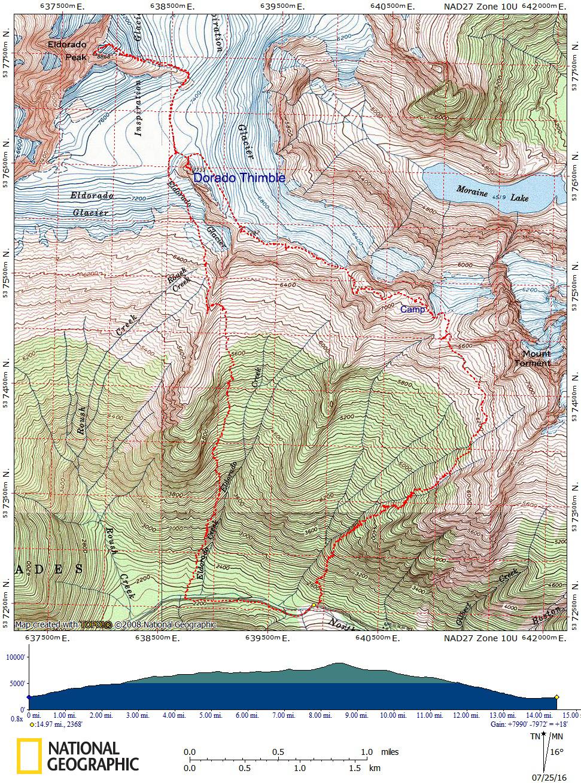 Eldorado Peak/Inspiration Glacier Route Map