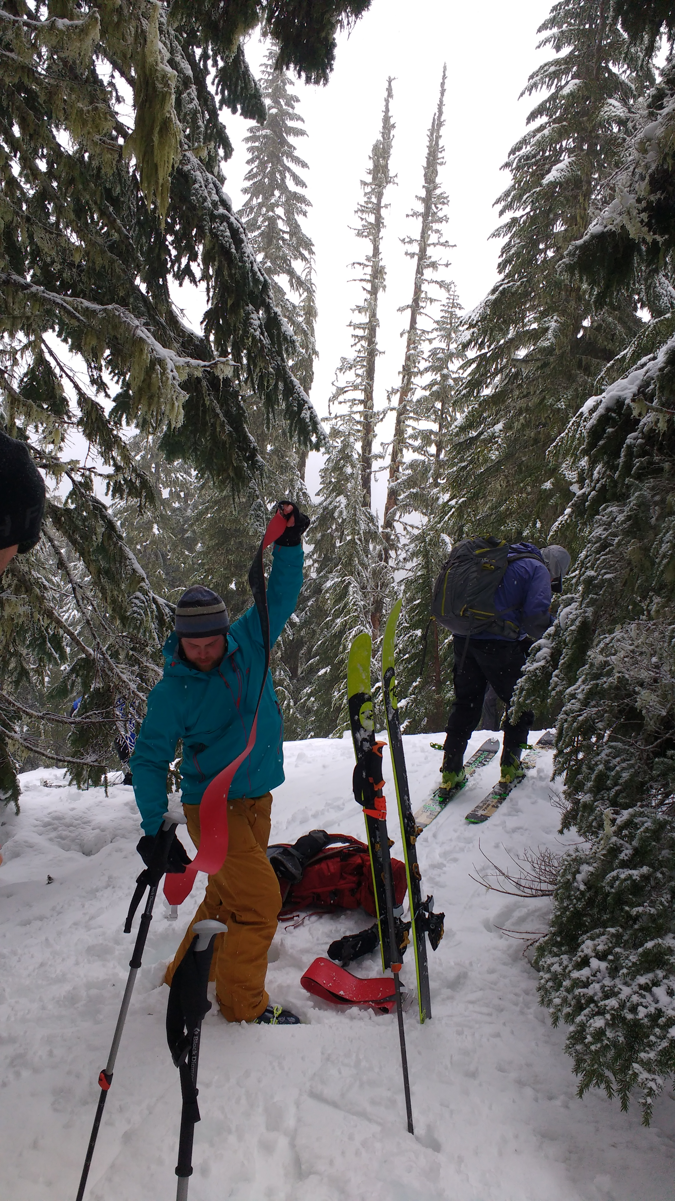 After skinning up to The Refrigerator we prepare to ski!