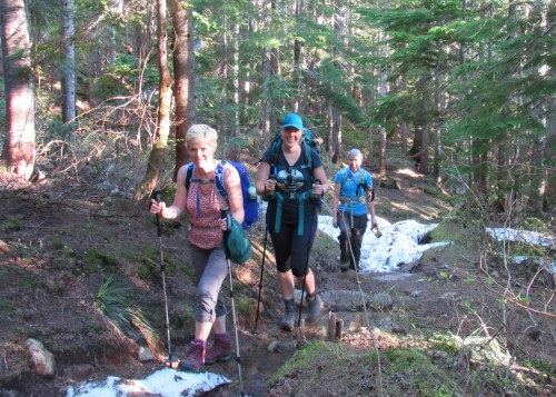 3 hikers with snow on trail