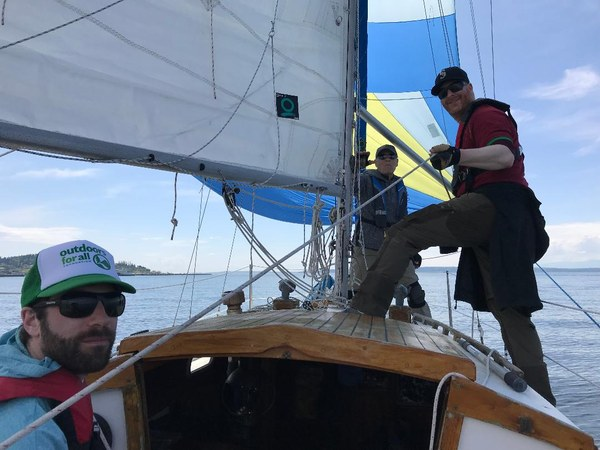 The crew as we flew the spinnaker home.