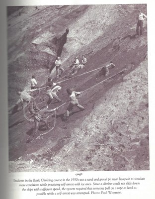 1950s Mountaineers self arrest on sand