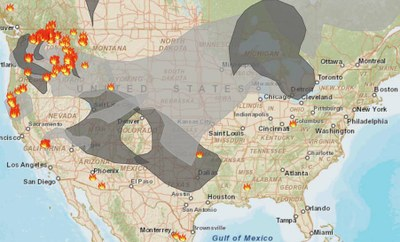 Wildfire today map