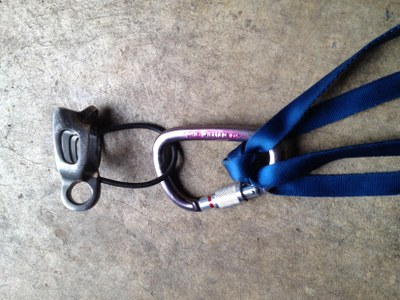 Position the carabiner used with your rappel device