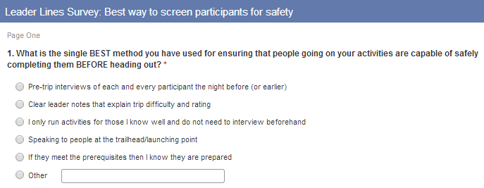 Asked Leaders how they screen participants