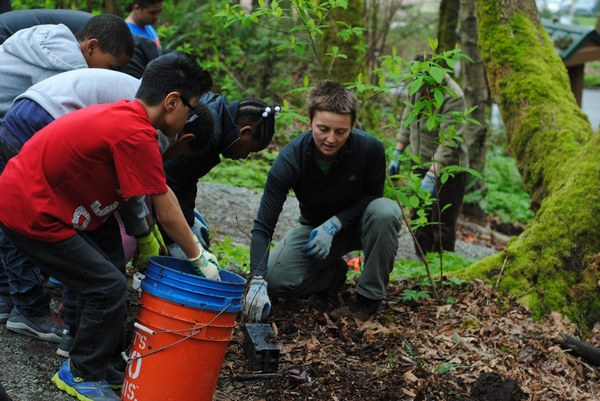 A leader and students from Aki Kurose Middle School on a stewardship day. .jpg