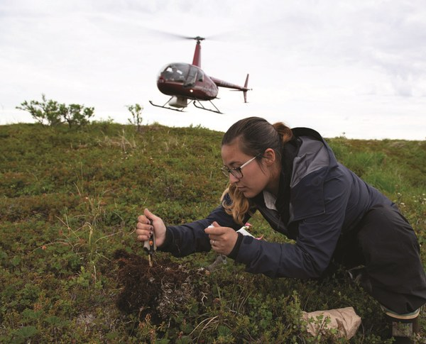 Polaris student and Alaska Native Darcy Peter collects soil samples in the Y-K Delta p102.jpg
