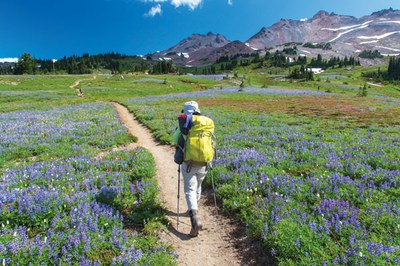 Backpacker along the PCT in Goat Rocks Wilderness. Photo by Tim Nair
