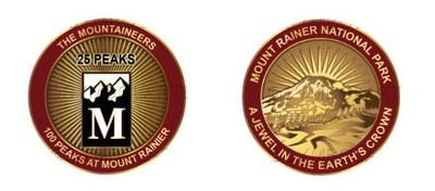 Medallion awarded for summitting 25 of the 100 Peaks at Mount Rainier