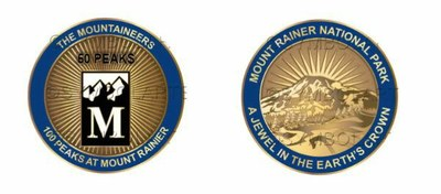 Medallion awarded for summitting 50 of the 100 Peaks at Mount Rainier