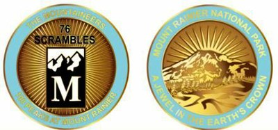 Medallion awarded for summitting all 76 Scramble Peaks of the 100 Peaks at Mount Rainier