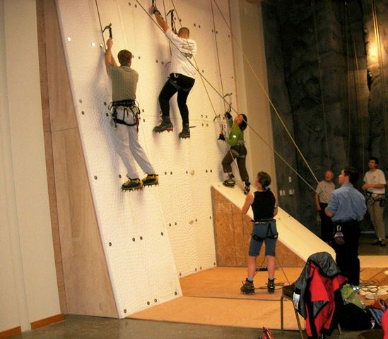 Climbers on ice wall