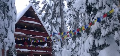 Stevens Lodge Winter with Prayer Flags Banner