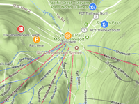 A topo map image that shows how to get to parking for our Stevens Lodge from Highway 2 and the PCT trailheads.