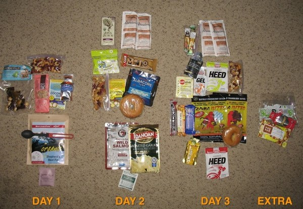 Rainier, DC Route nutrition (everyone will have different caloric needs! This is just an example.)