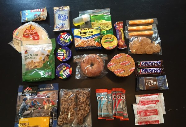 Four days' backpacking food (everyone will have different caloric needs! This is just an example.)